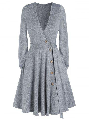 Deep V Neck Pockets Belted Mock Button Mini Dress