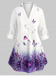Plus Size Long Sleeves Butterfly Popover Blouse -