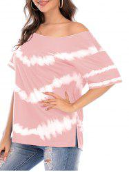Tie Dye Skew Neck Side Slit Pocket Tee -