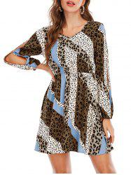 Split Sleeve Leopard Dalmatian Dot Print Mini Dress -