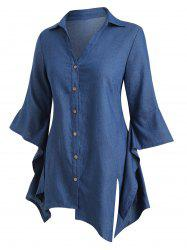 Plus Size Chambray Asymmetric Bell Sleeve Top -