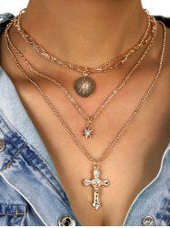 Rhinestone Star Cross Disc Shape Layered Necklace -