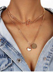 Disc Heart Shape Lariat Layered Necklace -