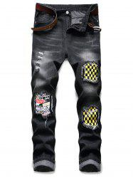 Ripped Patchwork Scratch Long Casual Jeans -