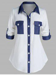 Plus Size Dual Pocket Denim Patched Rolled Tab Sleeve Shirt -