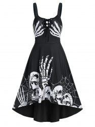 Skeleton Pattern Lace Up High Low Gothic Dress -