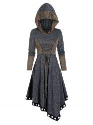 Contrast Color Lace Up Asymmetrical Hooded Dress -