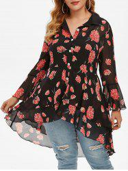 Plus Size High Low Flounce Floral Blouse and Tank Top Set -