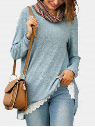 Ethnic Cowl Neck Lace Hem Knitwear -