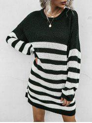 Two Tone Striped Shift Sweater Dress -