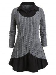 Plus Size Mixed Media Cable Knit Sweater -