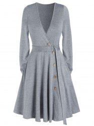 Deep V Neck Pockets Belted Mock Button Mini Dress -