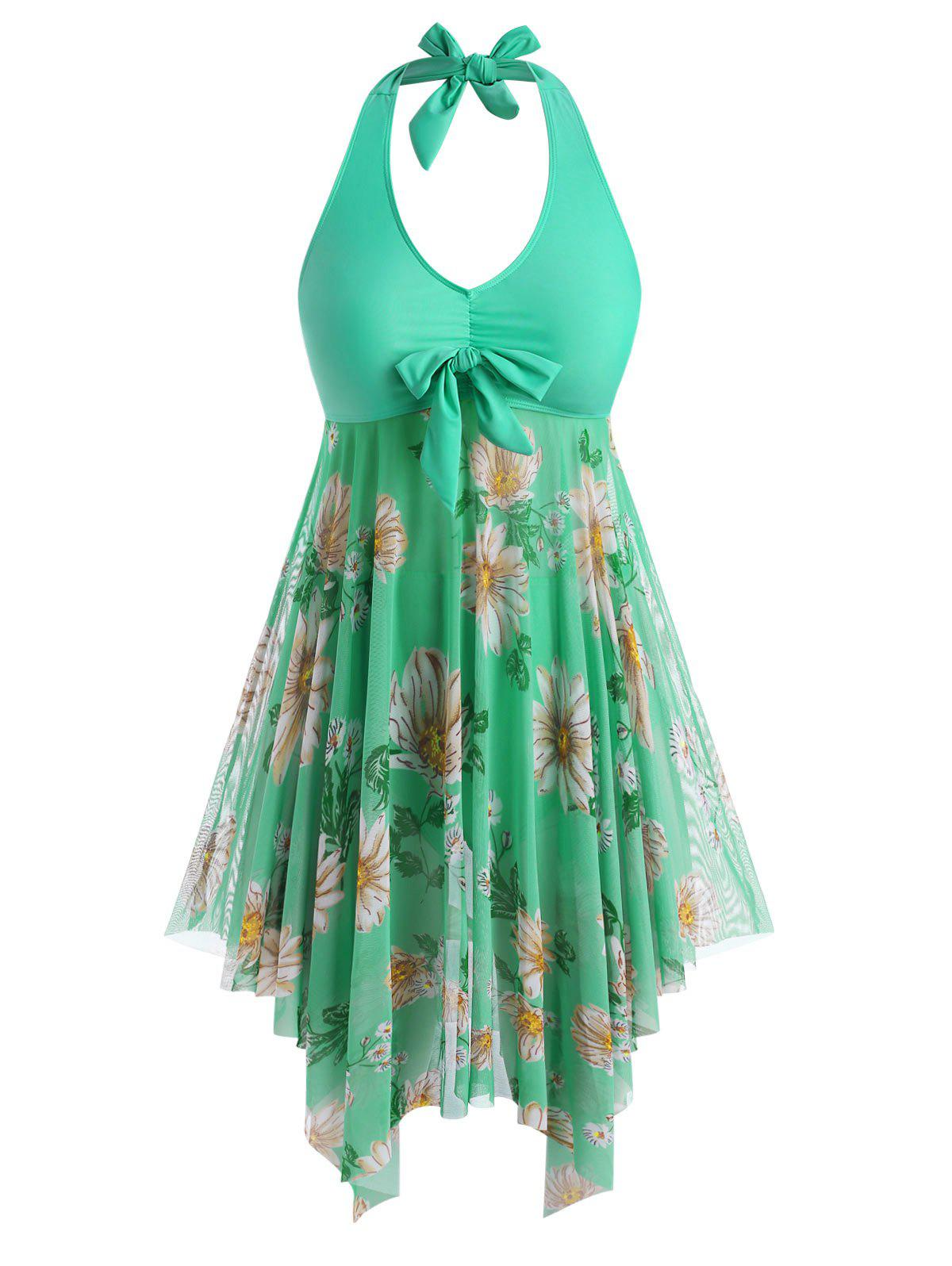 Affordable Plus Size Sunflower Print Backless Handkerchief Tankini Swimsuit