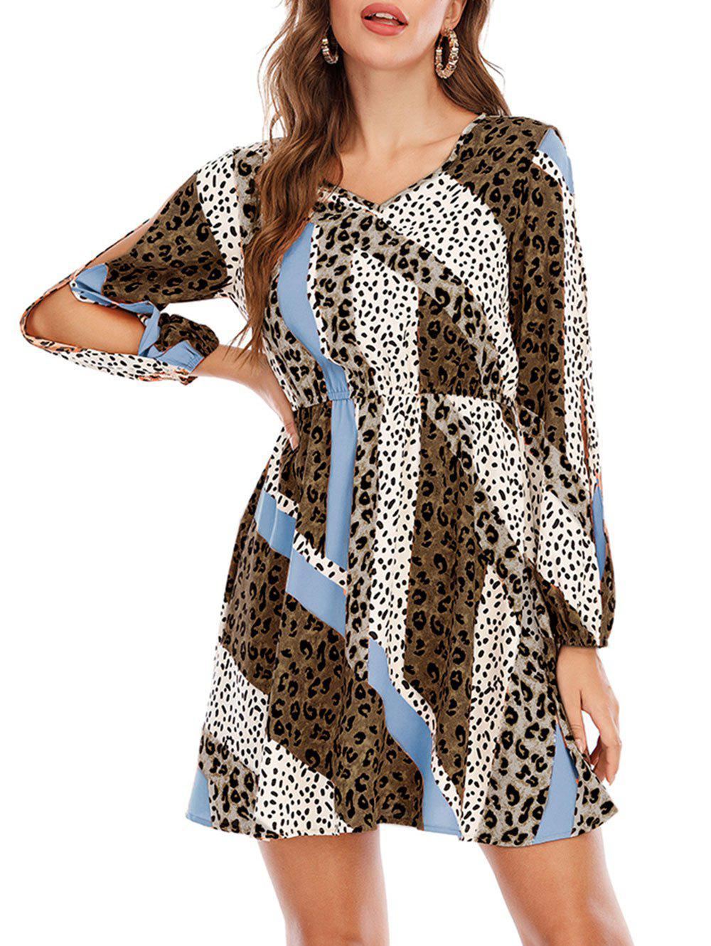 Buy Split Sleeve Leopard Dalmatian Dot Print Mini Dress