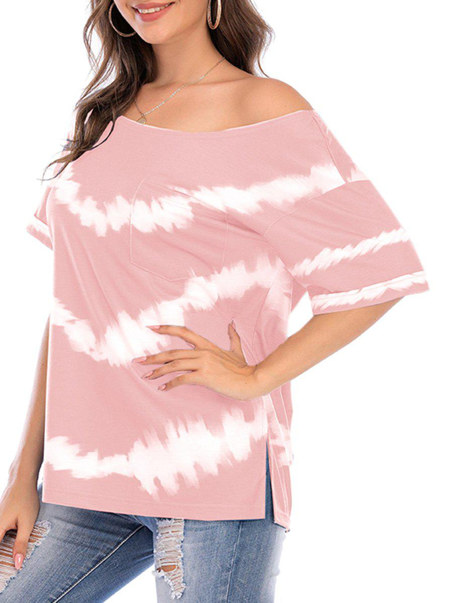 Hot Tie Dye Skew Neck Side Slit Pocket Tee