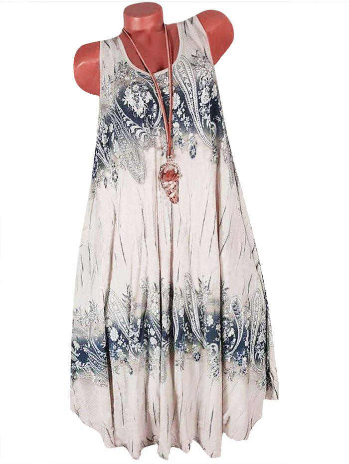 Paisley Printed Sleeveless Shift Dress фото