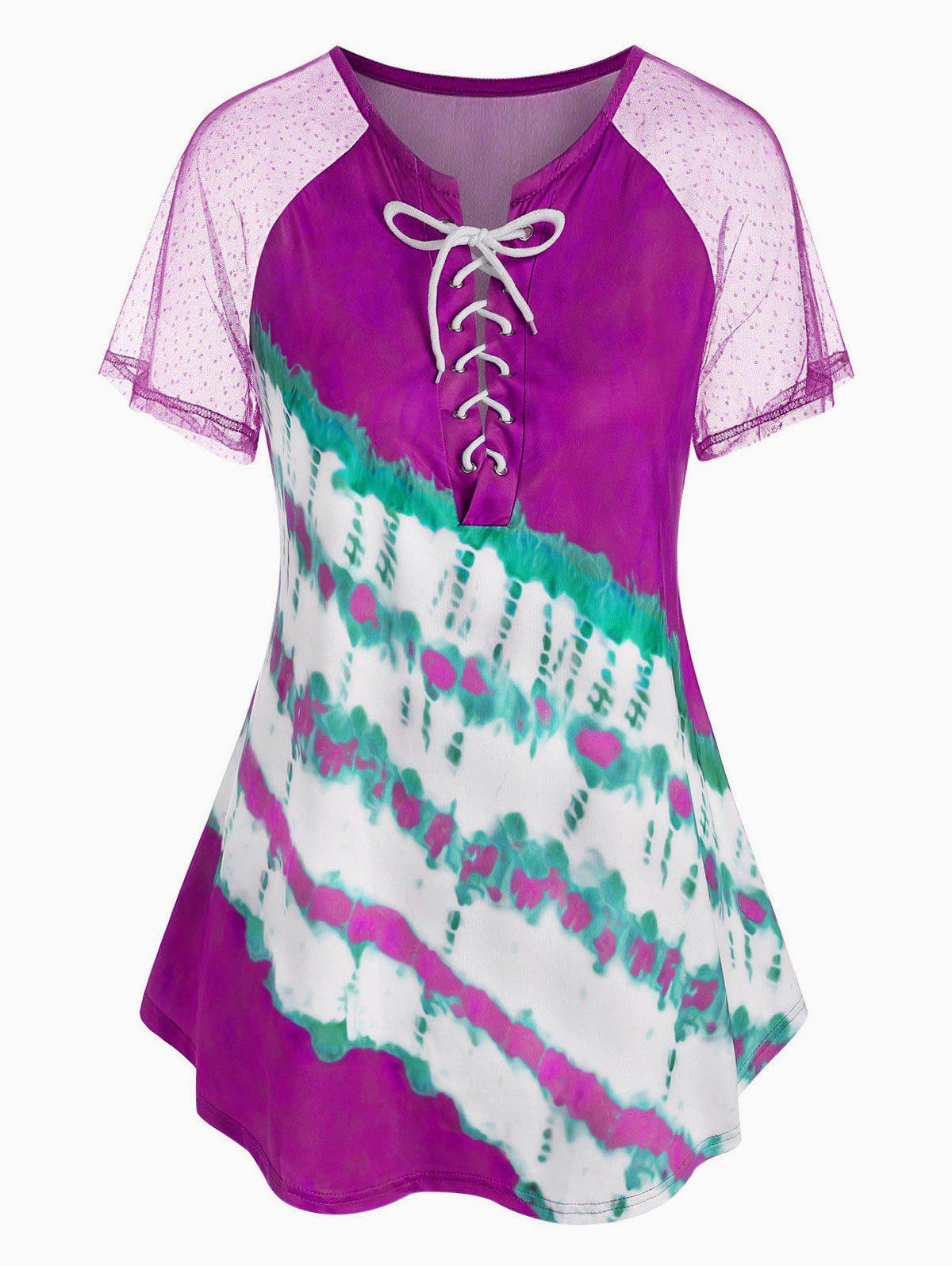 Affordable Plus Size Lace Up Tie Dye T Shirt
