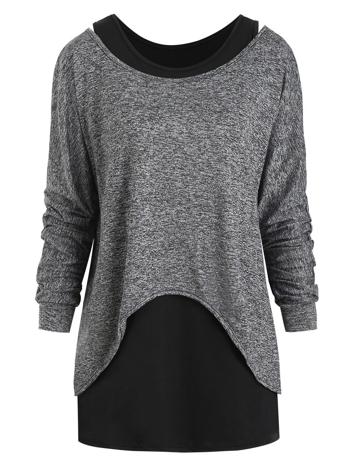 Chic Open Shoulder Heathered High Low Top Set