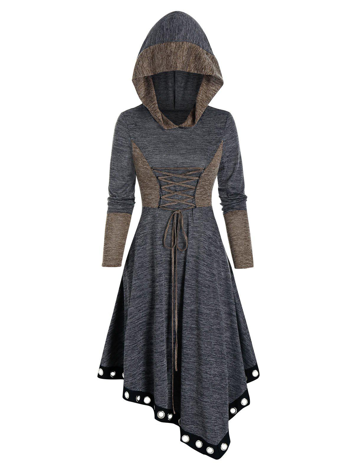 Trendy Contrast Color Lace Up Asymmetrical Hooded Dress