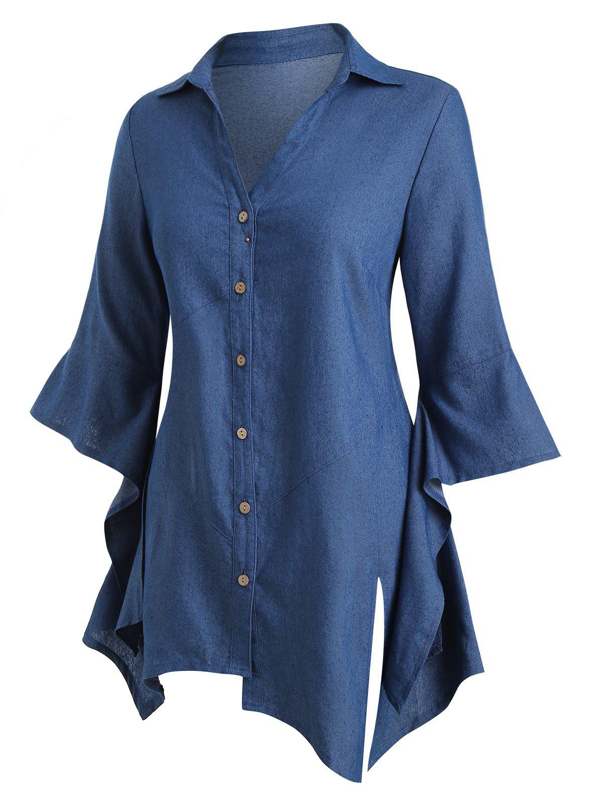 Latest Plus Size Chambray Asymmetric Bell Sleeve Top