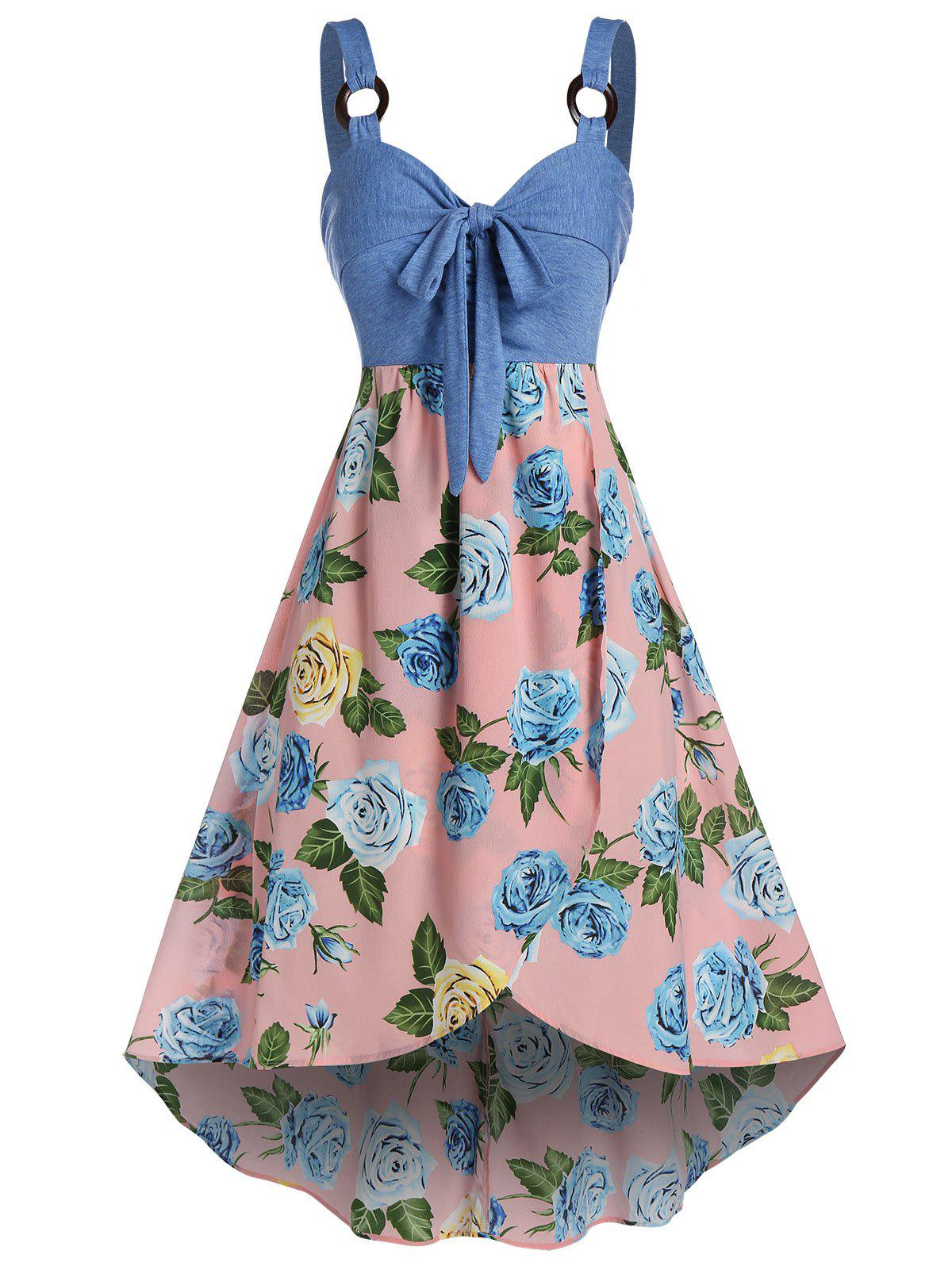 Latest Plus Size Flower Knotted Overlap Backless Midi Dress