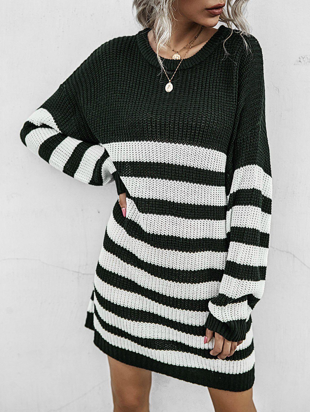 Online Two Tone Striped Shift Sweater Dress