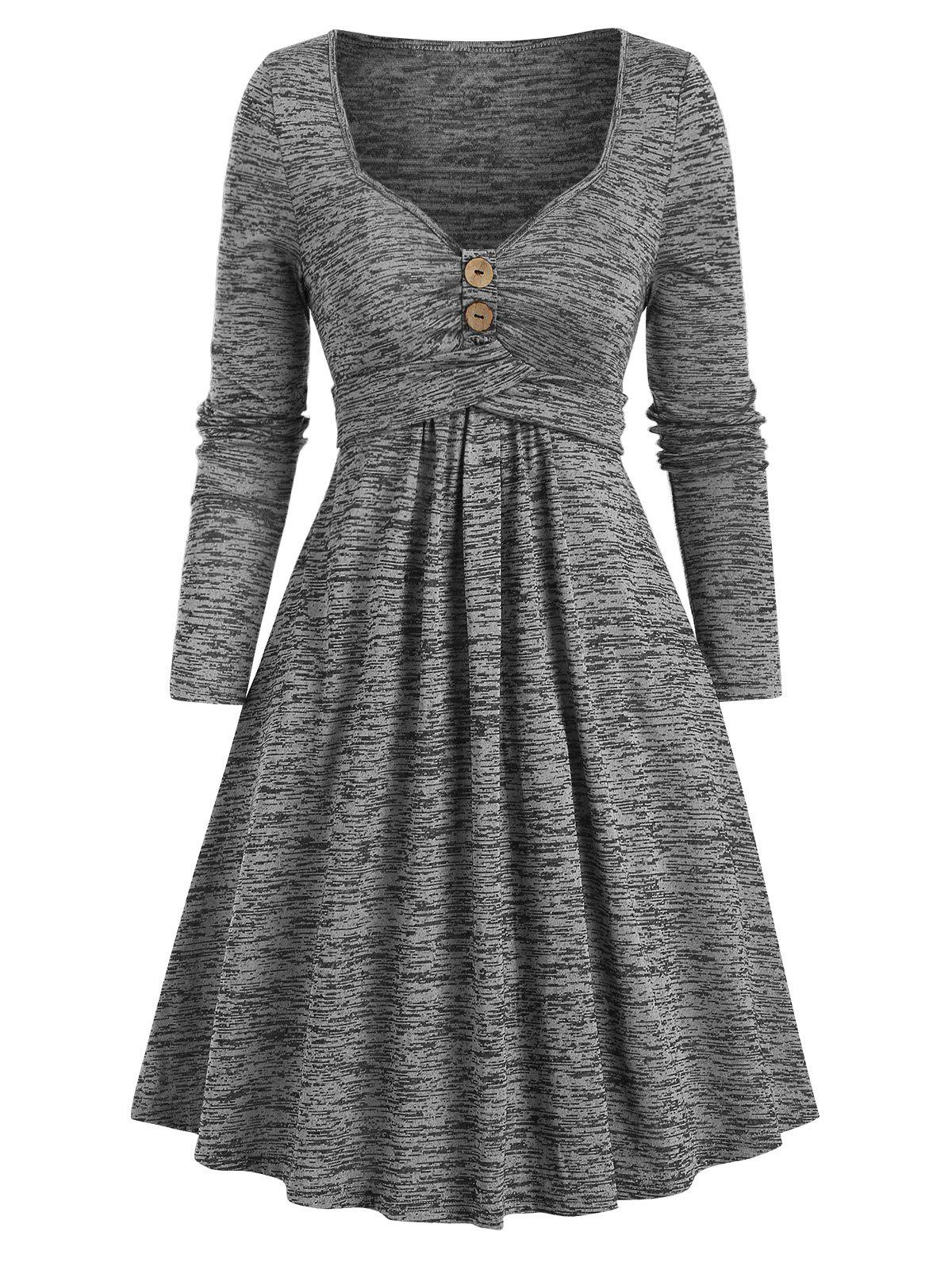 Chic Space Dye Crisscross Mini A Line Dress
