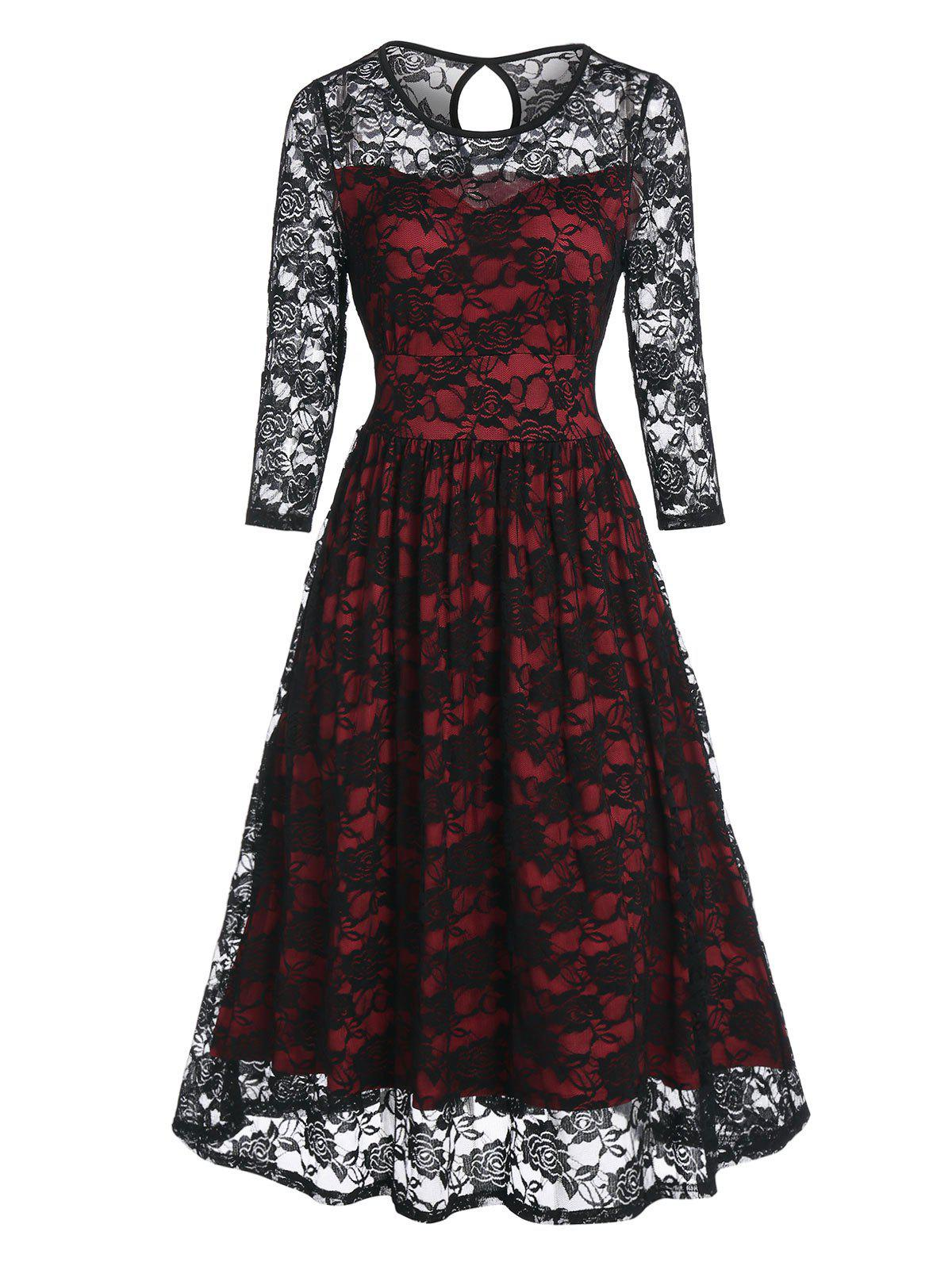 Shop Vintage Flower Pattern Lace Prom Dress
