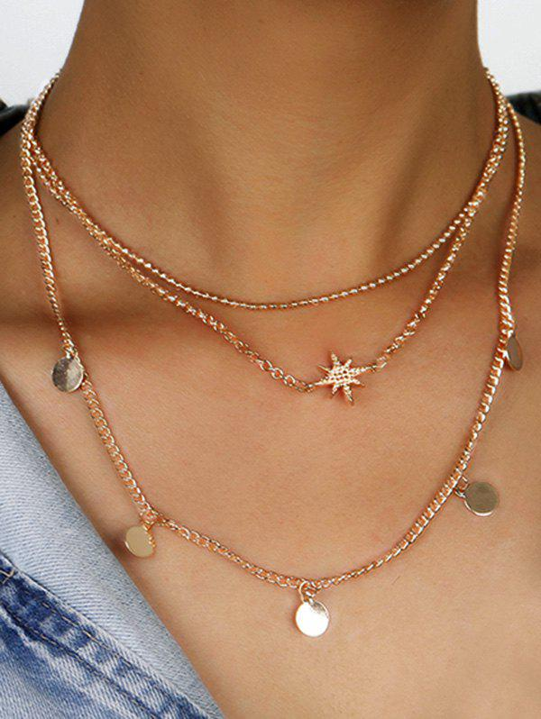 Shops Star Disc Pattern Layered Necklace