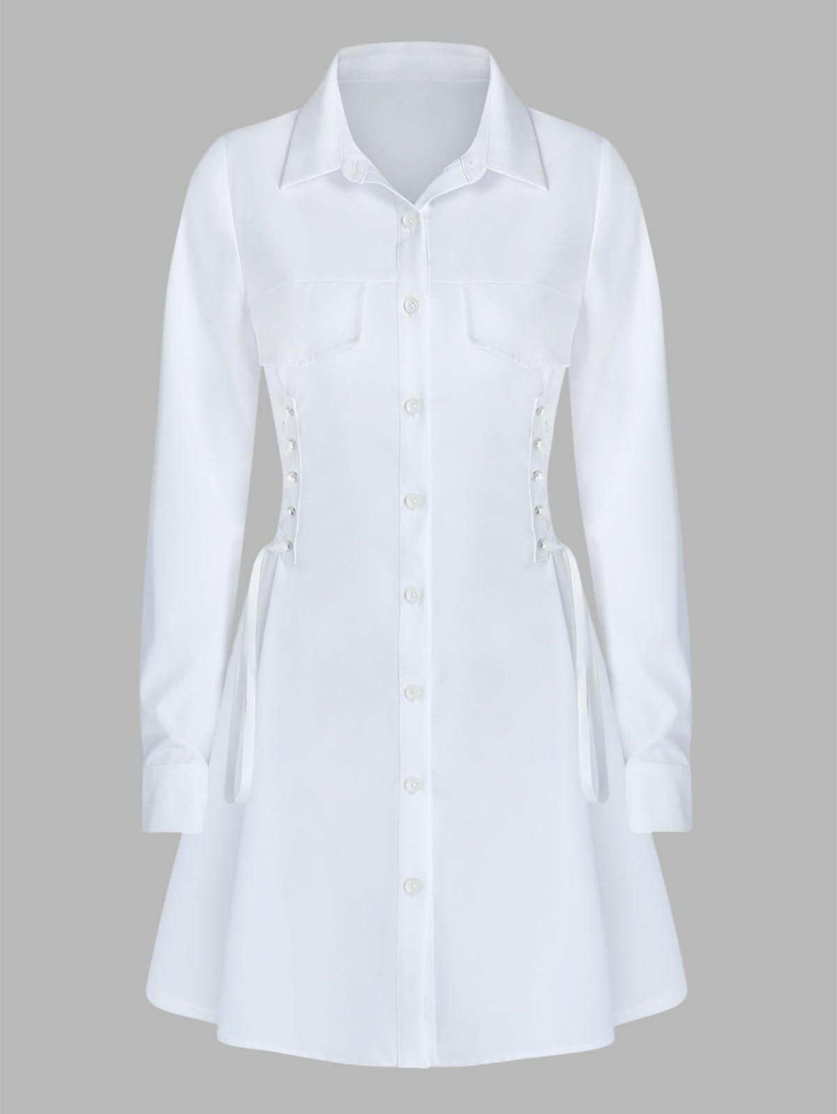 Store Long Sleeve Lace-up Button Up Shirt Dress
