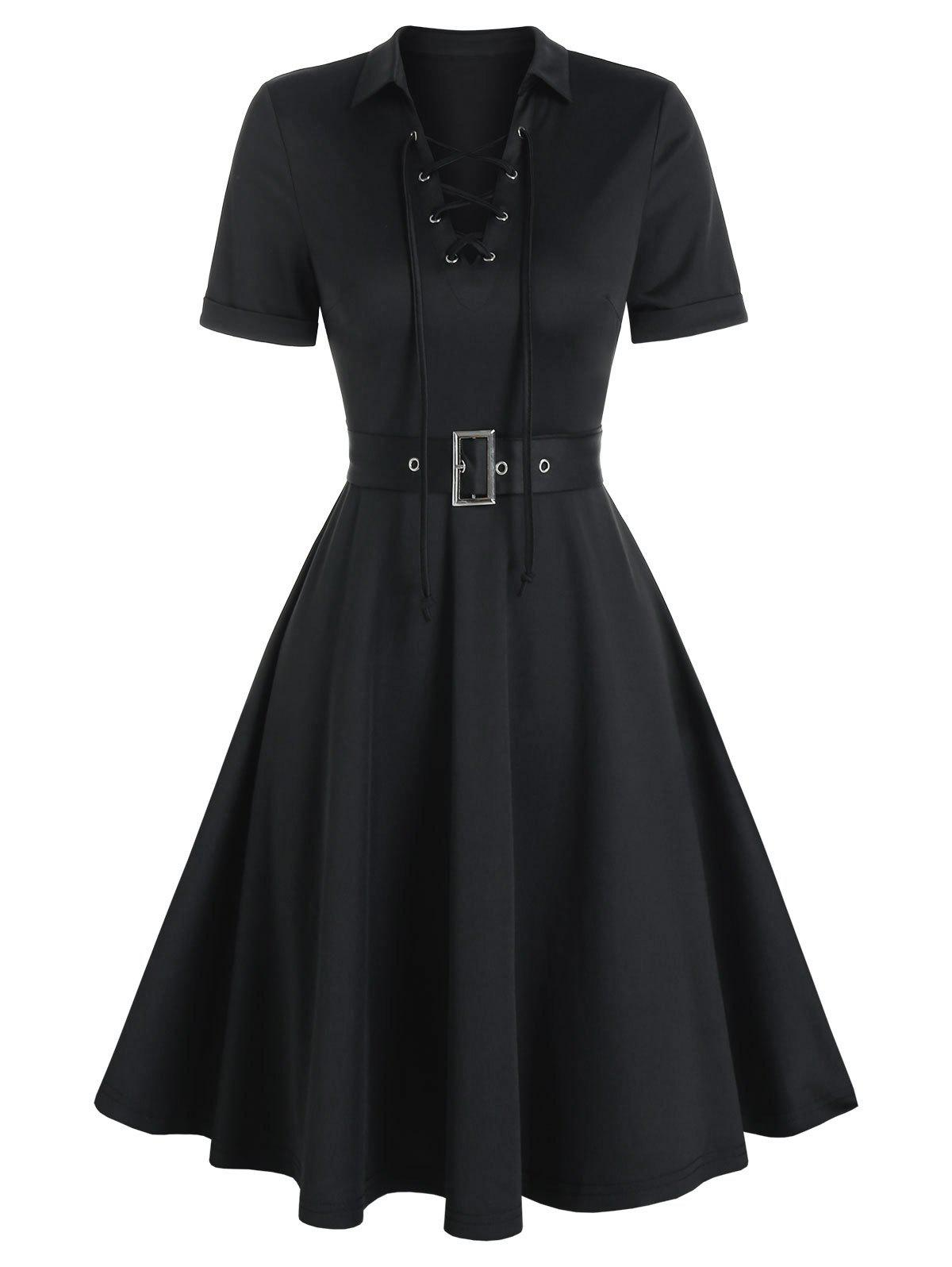 Cheap Lace-up Front Belted Casual Dress