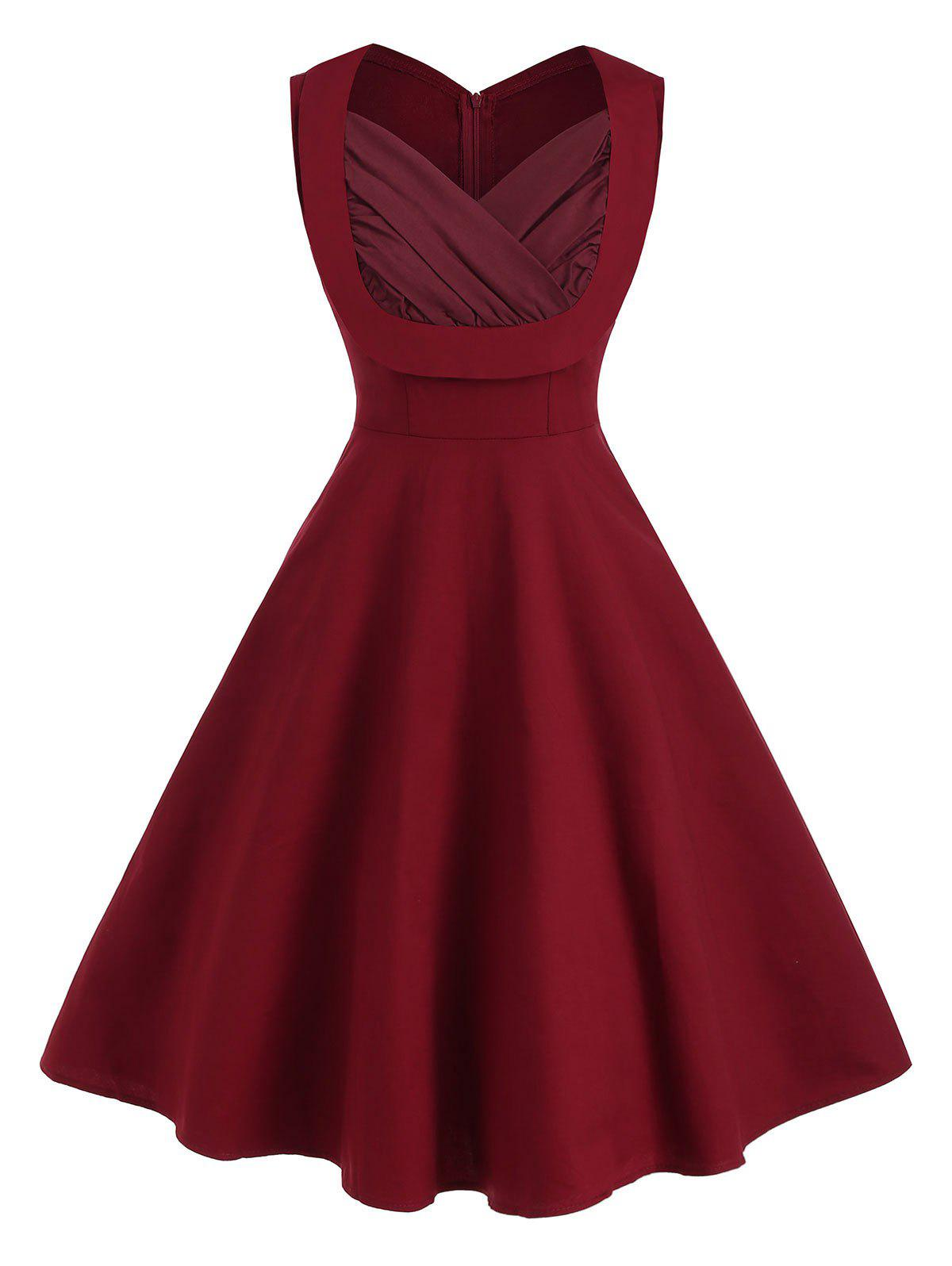 Sweetheart Neck Ruched A Line Sleeveless Vintage Dress фото