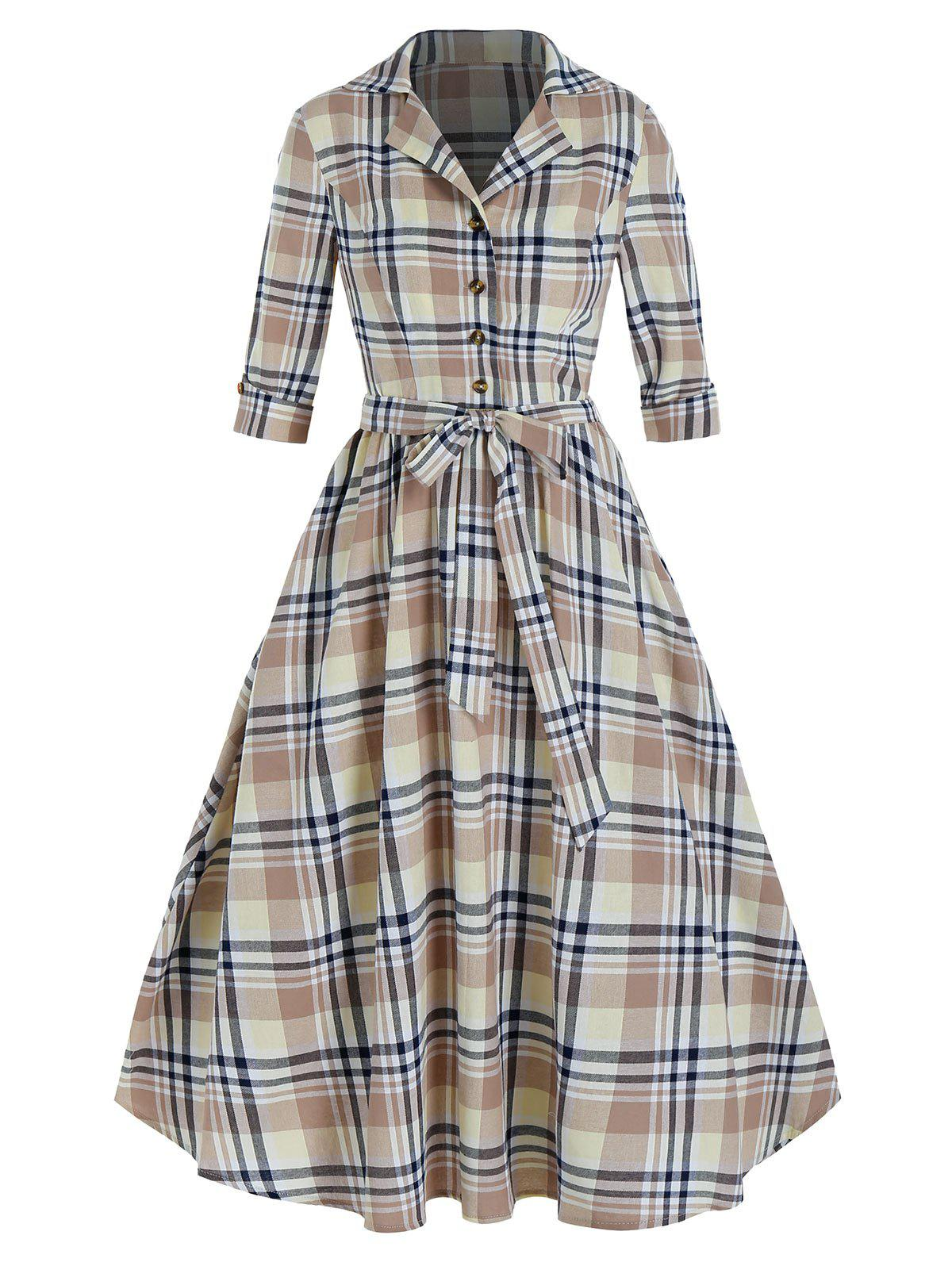 Unique Plaid Print Lapel Belted Vintage Dress