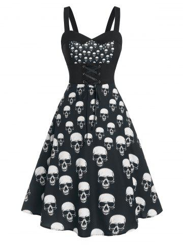 Skull Print Lace Up Cami Mid Calf Dress