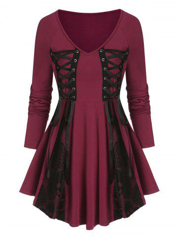 Lace Up Lace Panel Gothic T Shirt - RED WINE - L