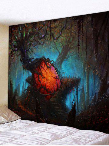 Halloween Withered Trees Printing Wall Tapestry - DARK SLATE BLUE - W91 X L71 INCH