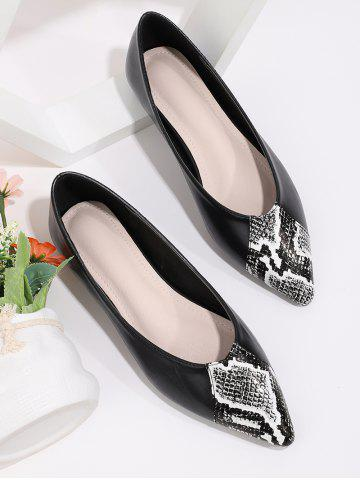 Snakeskin Patchwork Pointed Toe Flat Shoes - BLACK - EU 40