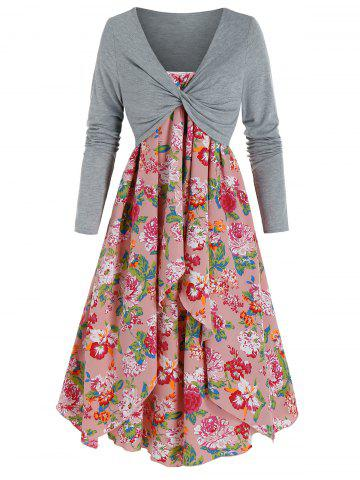 Flower Print Dress and Twist Front Cropped T-shirt - MULTI-A - 3XL