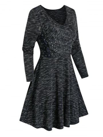 Space Dye Print Lace-up Ruched Dress
