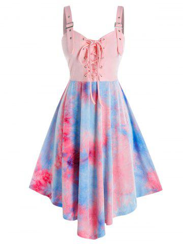 Plus Size Tie Dye Lace-up Buckle Eyelet Backless Dress