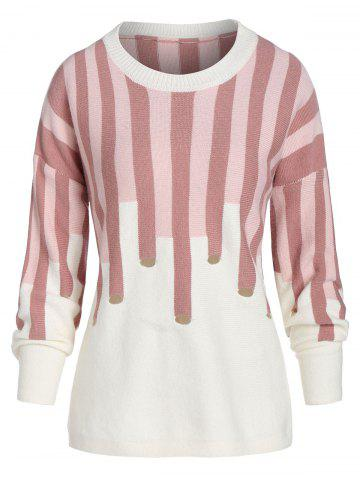 Plus Size Striped Drop Shoulder Sweater - LIGHT PINK - 5X