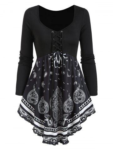 Paisley Print Lace Up Long Sleeve T Shirt - BLACK - L