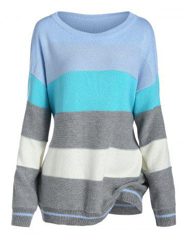 Plus Size Color Blocking Striped Drop Shoulder Sweater - LIGHT BLUE - 3X