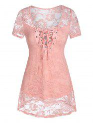 Lace-up Flower Lace Top -