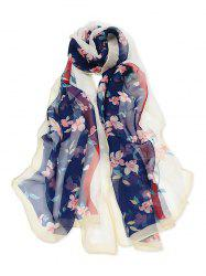 Floral Printed Colorblock Long Scarf -