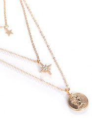18K Gold Plated Portrait Star Pendant Layered Necklace -