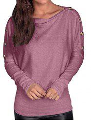 Buttoned Dolman Sleeve Boat Neck Tee -