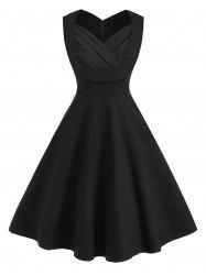 Sweetheart Neck Ruched A Line Sleeveless Vintage Dress -
