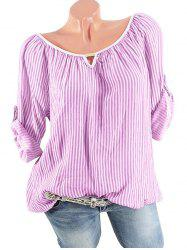 Plus Size Stripe Roll Up Sleeve Top -