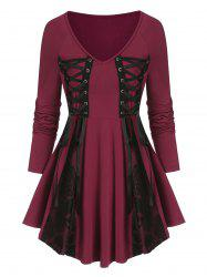 Lace Up Lace Panel Gothic T Shirt -